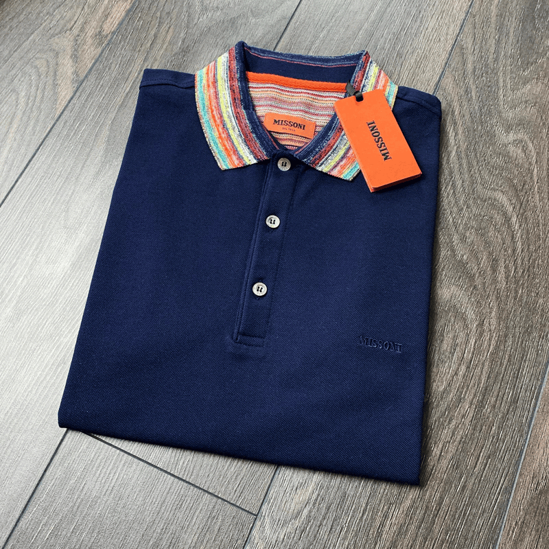 Missoni Navy Contrast Collar Polo Shirt