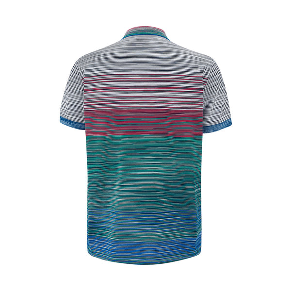 Missoni SS21 Short Sleeved Polo Green/Red/Blue