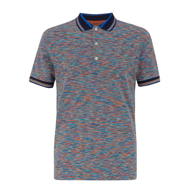 Missoni SS21 Short Sleeved Polo Blue/Yellow/Purple