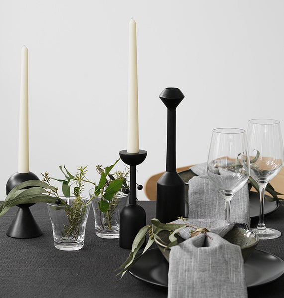 All Blakc Wooden Candle Holders