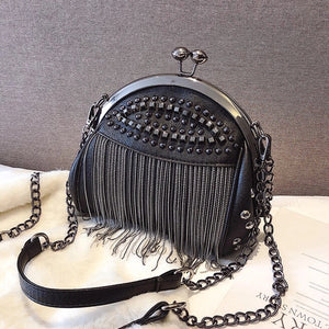 ALL BLAKC TASSEL BAG