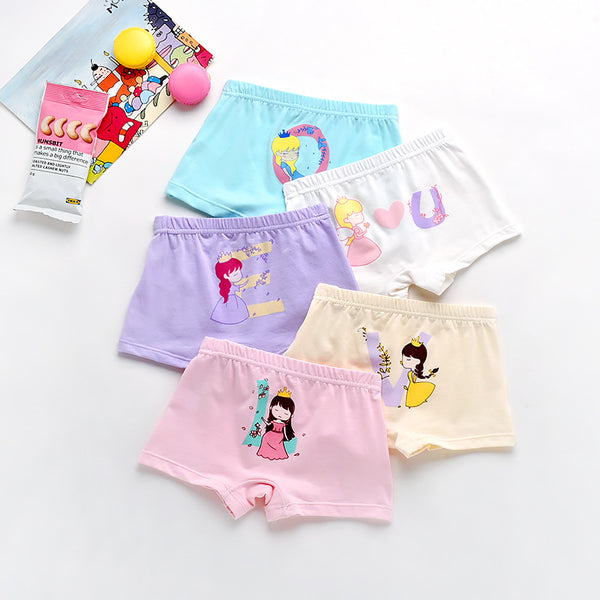5pcs/lot Lovely Girls Underwear Kids Boxer Shorts Soft Cotton Panties Underpants