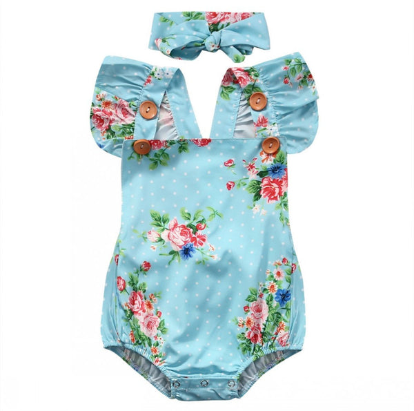 Floral Baby Girls Infant Romper Backless Sunsuit Bodysuit+Floral Headband