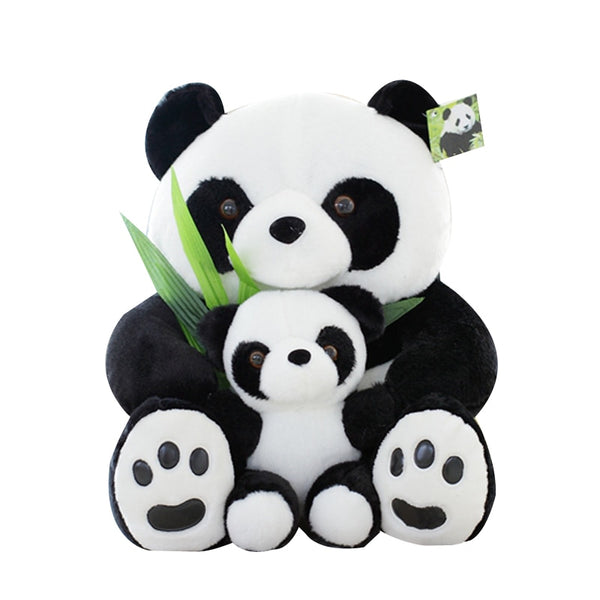25cm Good Quality Sitting Mother and Baby Panda Plush Toys Stuffed Panda
