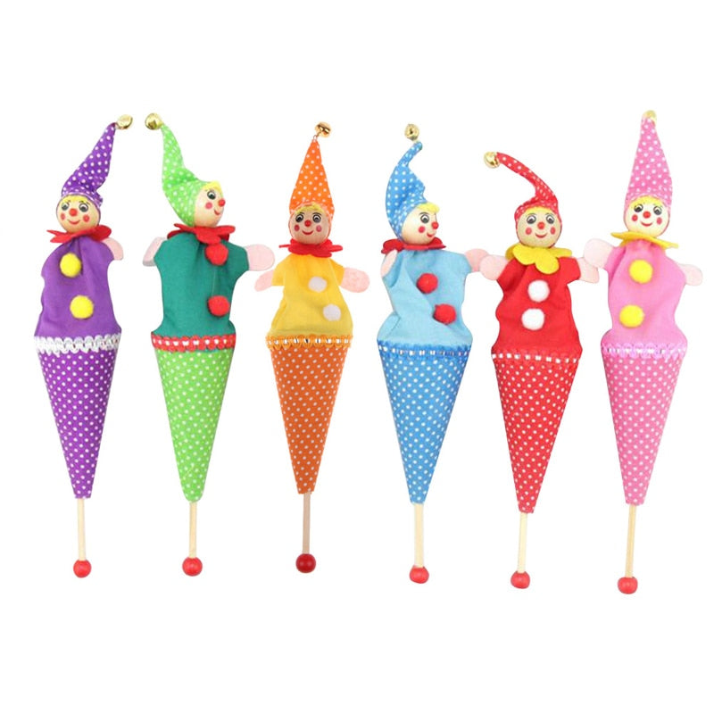1PC Baby Rattle Toys Retractable Smiling Clown Hide Seek Play Jingle Bell