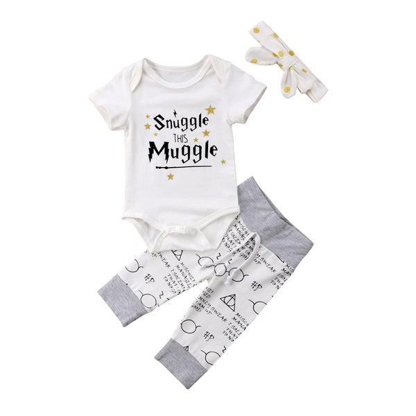 Newborn Baby Clothing Set 2019  Harri potter Tops bebe Rompers+Pants+Headband