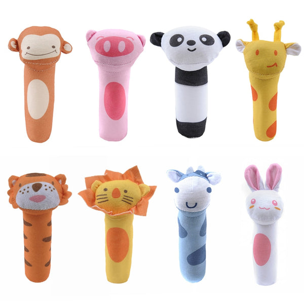 Baby Rattles BB Sticks Soft Cow Plush Doll Crib Bed Hanging hand catches Animal Toy Doll Kids Toy