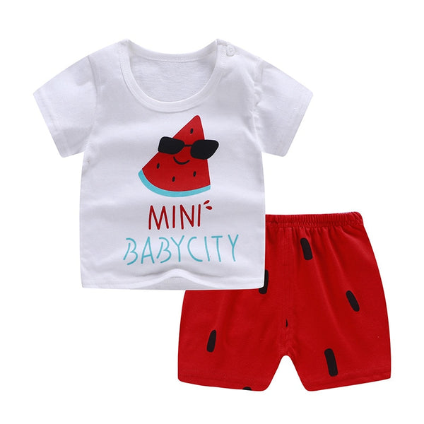 Cute Watermelon Short Sleeves+short Set For Baby Boy Summer Casual Clothing