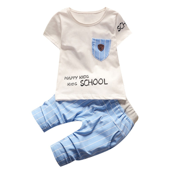 Kids Baby Boys Short Sleeve Letter Print Tops Short Pants Casual Outfits