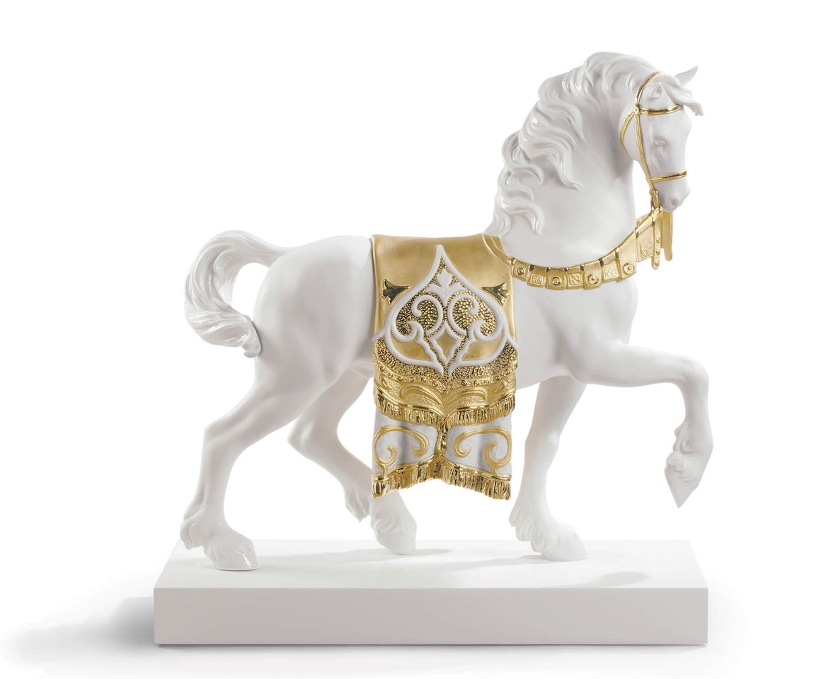 LLADRO PORSELEN BIBLO BEYAZ AT - RAFLI ( RE -DECO ALTIN ), BEYAZ - ALTIN, 42 x 40 x 16 LLADRO