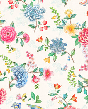 Pip Studio No 100 Wallpaper, White / Multi Color