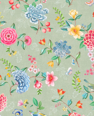 Pip Studio No 100 Wallpaper, Green / Multi Color