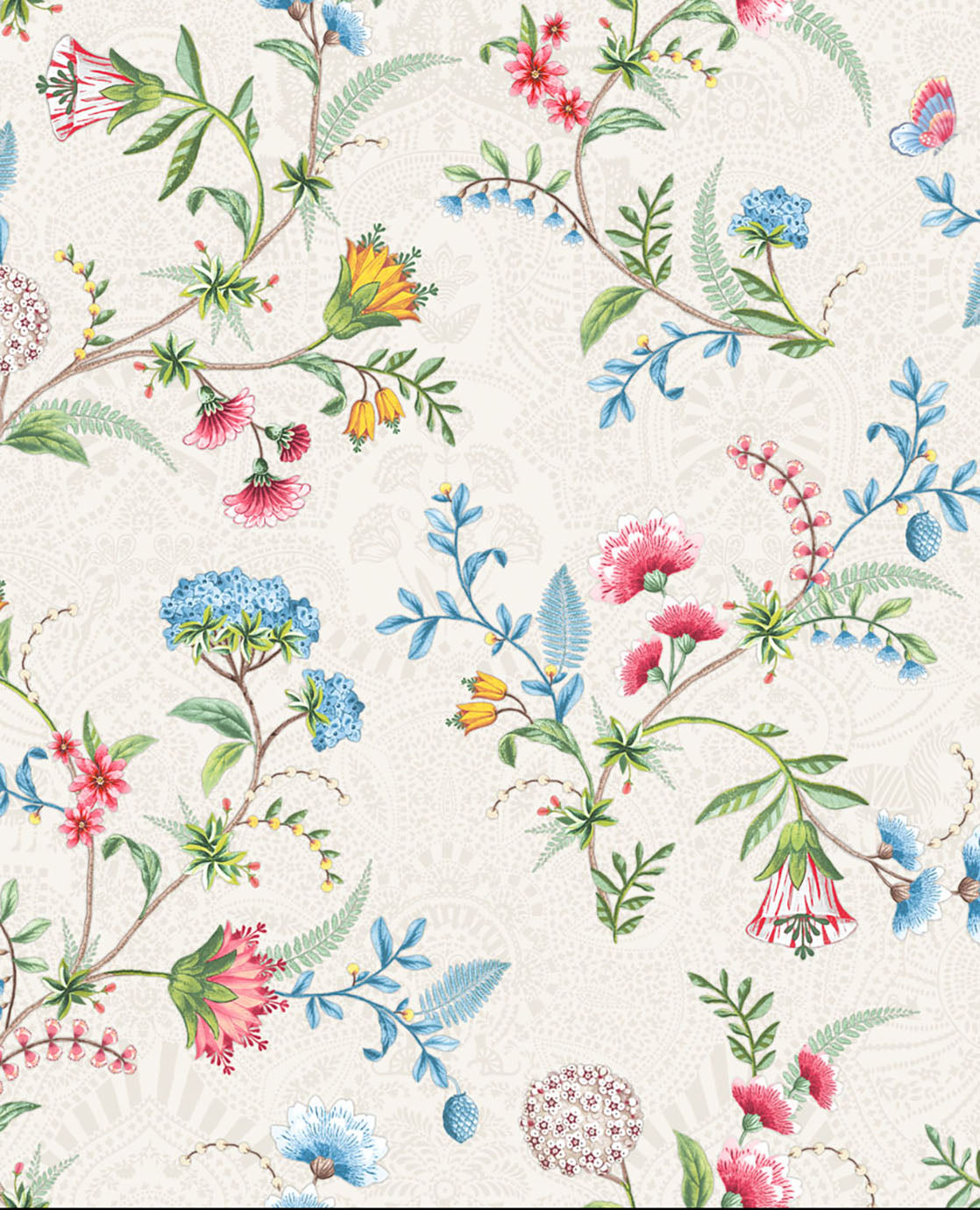 Pip Studio No 120 Wallpaper, White / Multi Color