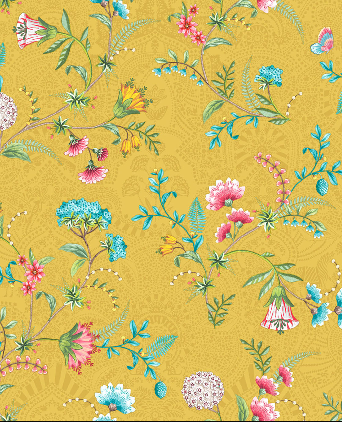 No 120 Pip Studio Wallpaper, Yellow / Multi Colour