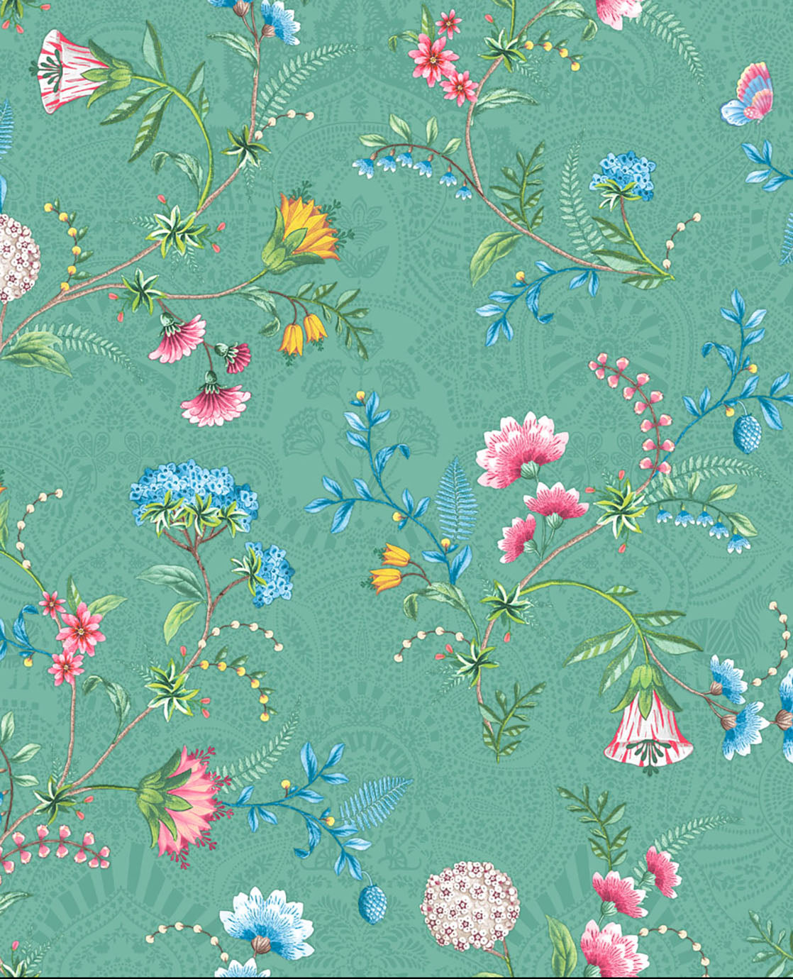 Pip Studio No 120 Wallpaper, Green / Multi Color