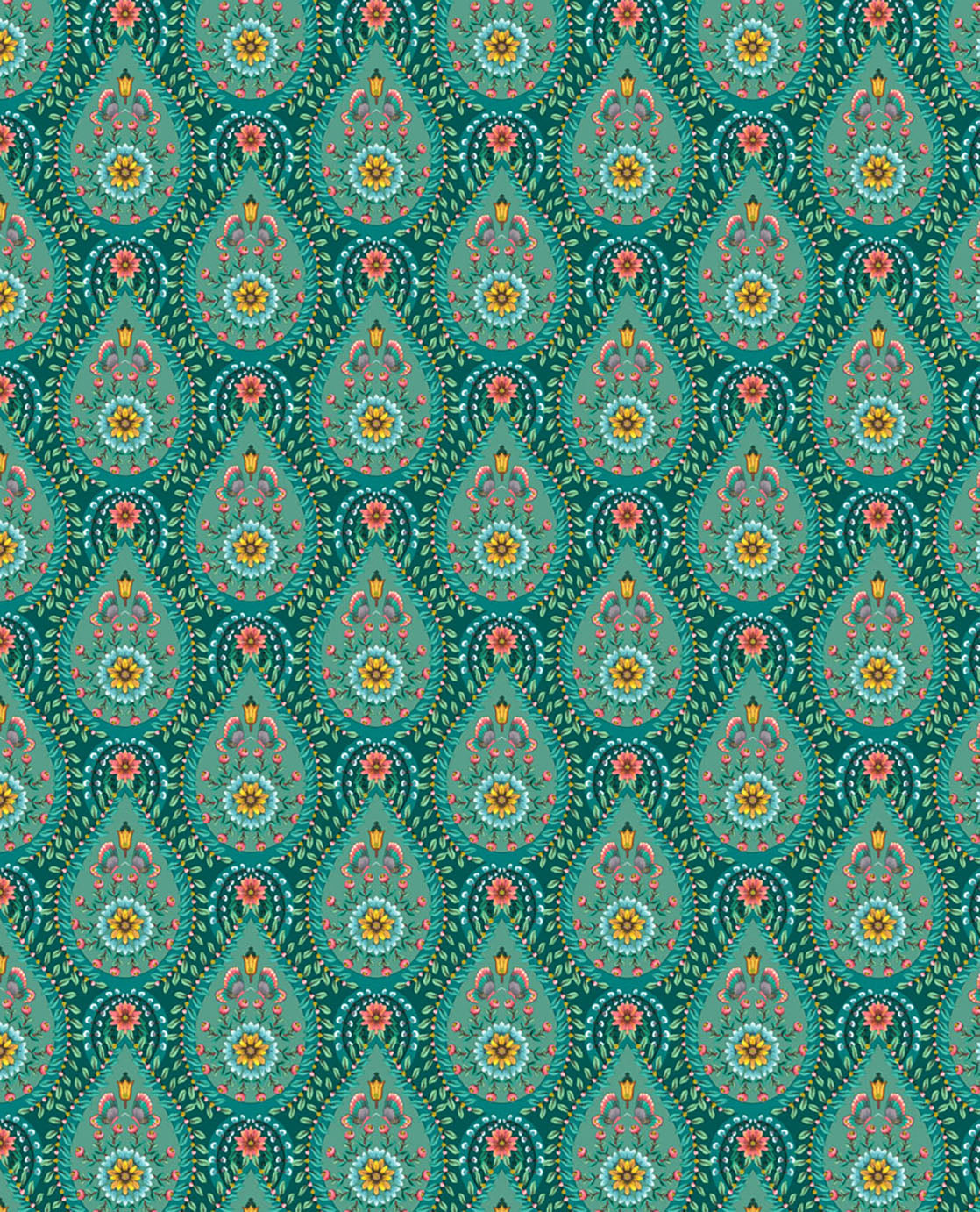 Pip Studio No 150 Wallpaper, Green / Multi Colour