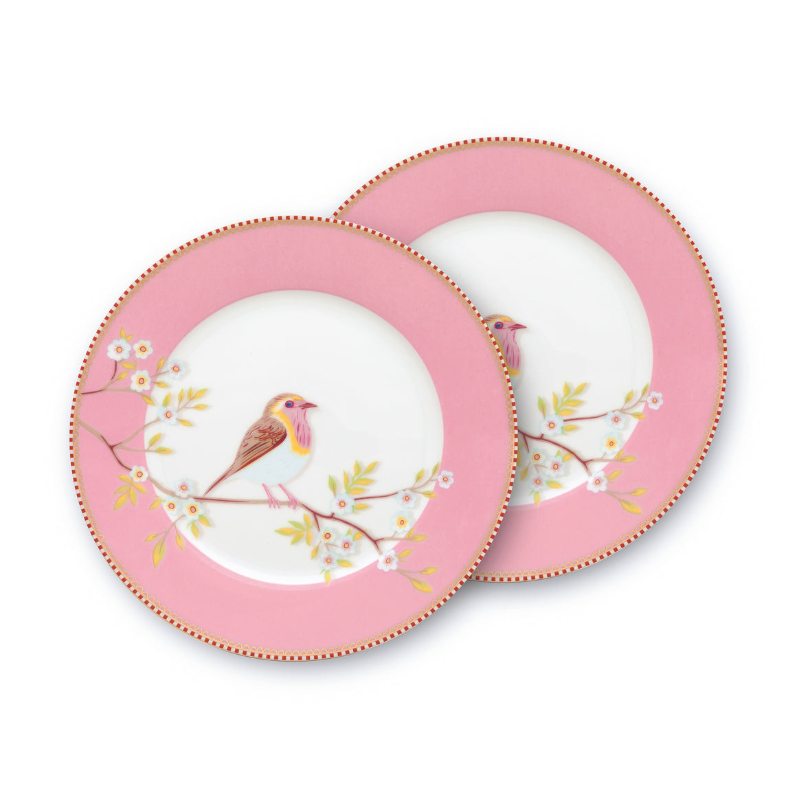 Pink Bird Plate Double Floral 21 CM