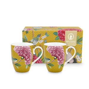 Blushing Birds Double Big Mug Set 350 Ml., Yellow