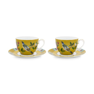Blushing Birds Double Teacup Set 280 Ml., Yellow