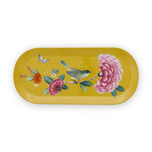 Blushing Oval platter Birds Cake, Yellow