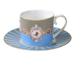 Love Bird Teacup, Blue / Khaki