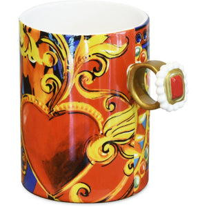 Cup of coffee, red, H bad-heart giosays 6.5 inches
