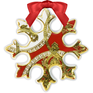 Snowflake Christmas Ornament, Red,