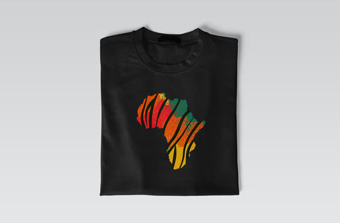 Multicolored Africa Design Short Sleeve T Shirt