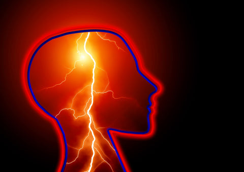 An image of a lightning bolt inside a head, representing epilepsy.