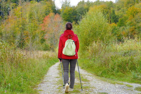 an image of a woman walking outdoors