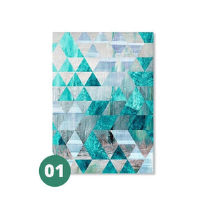 Open image in slideshow, Canvas Print - Geometric Turquoise