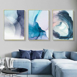 Canvas Print - Blue Ink Bloom | A Deal Each Week.