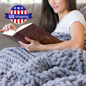 "Chunky Knitted Blanket, 39"" x 31"" 