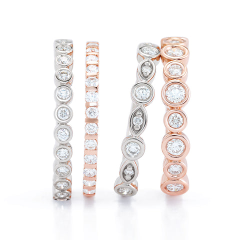 Kim's Jewelry - Alternating Diamond Band Rings