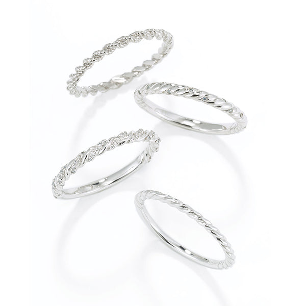 Ladies Rope Twist Entwined Diamond Bands