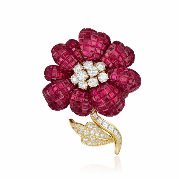 Ruby and Diamond Flower Brooch