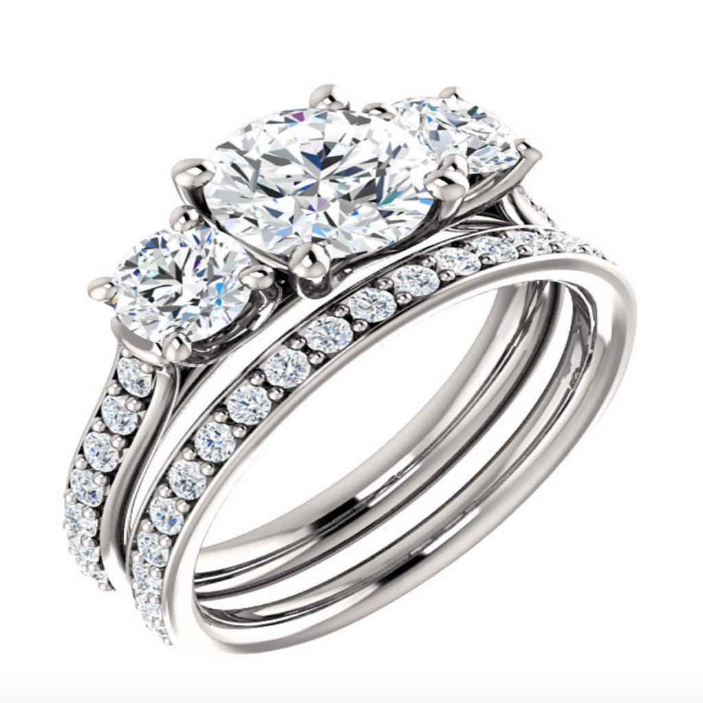 Three Stone Diamond Ring with Band
