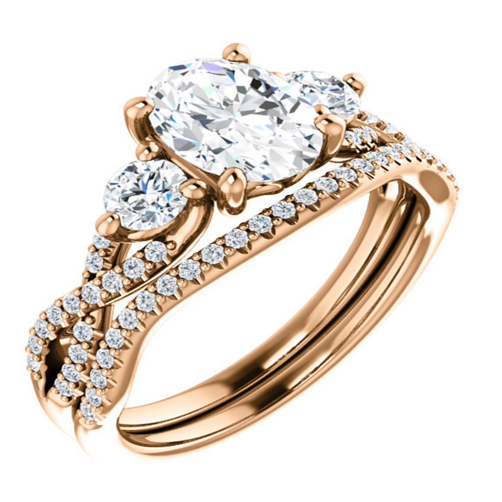 Entwined Rose Gold Three Stone Ring