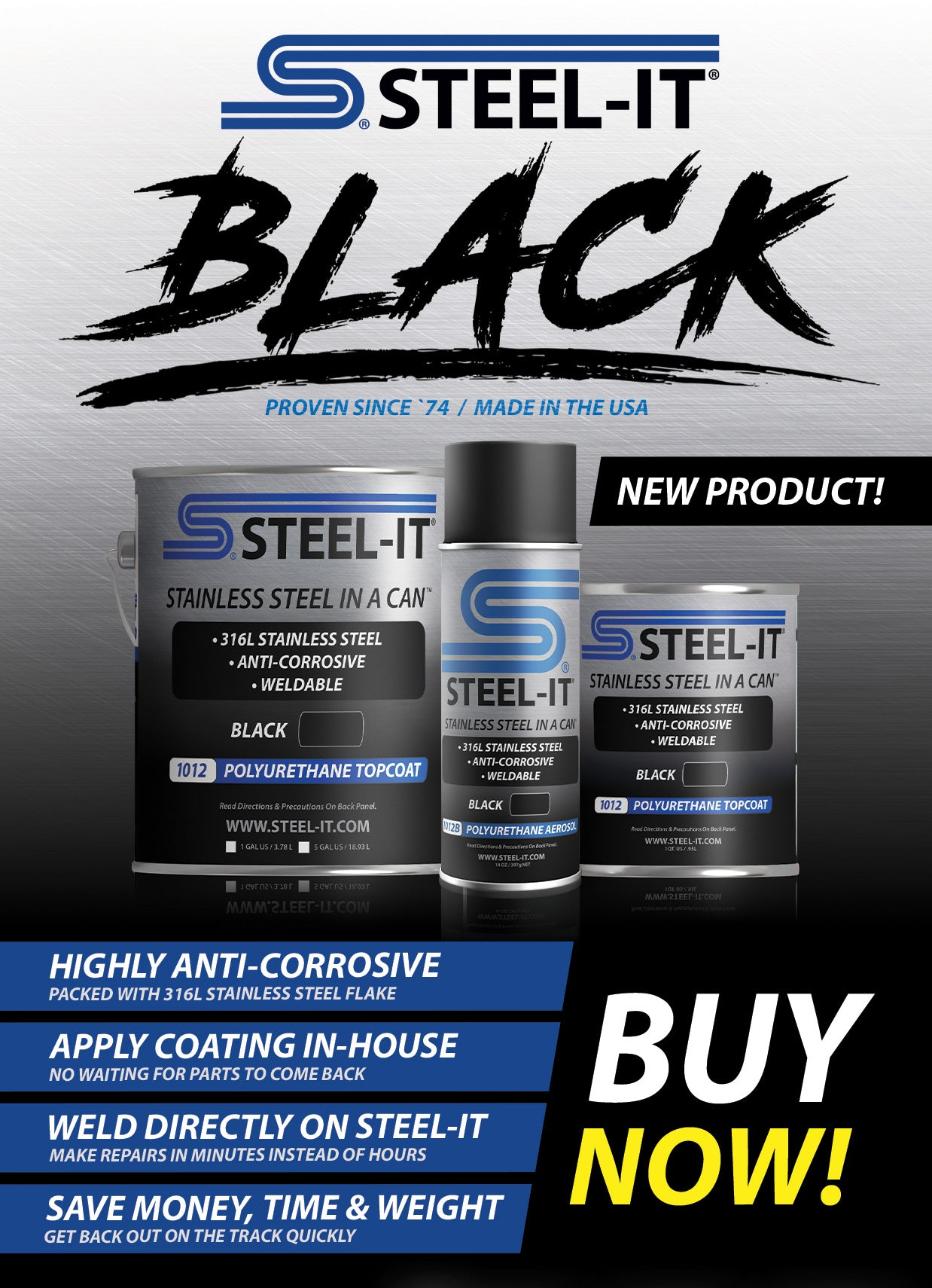 STEEL-IT Black, Polyurethane Coating, Paint, Metal Paint, Coatings, Automotive Paint, Stainless Steel