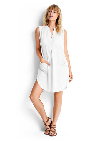 Seafolly Sleeveless Boyfriend Beach Shirt White
