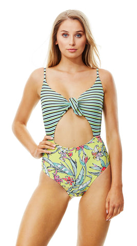 Piha Retro Surf Knot Front One Piece