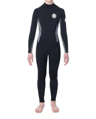 "Junior Girls Dawn Patrol 3/2mm Back Zip Wetsuit Steamer Flatlock ""BLACK/WHITE"""