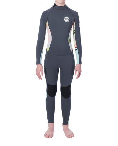 "Junior Girls Dawn Patrol 3/2mm Back Zip Wetsuit Steamer Flatlock ""CHARCOAL"""