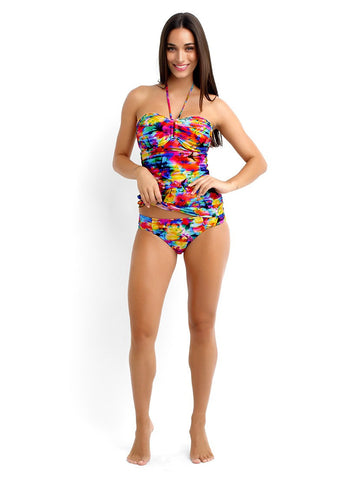 Seafolly Sonic Bloom DD U Tube Tankini and Ruched Side Pant