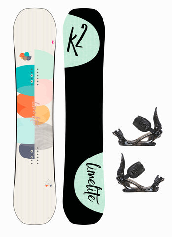 K2 Women's Lime Lite Snowboard with K2 Charm Bindings Package 2018