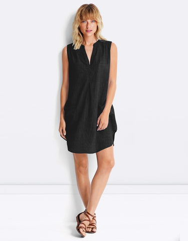 Seafolly Sleeveless Boyfriend Beach Shirt Black