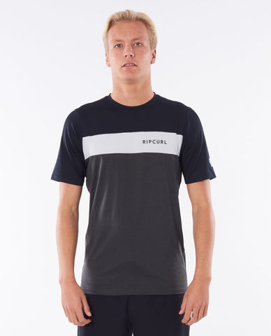 RIP CURL Underline Panel Relaxed Short Sleeve UV Tee Rash Guard - Black