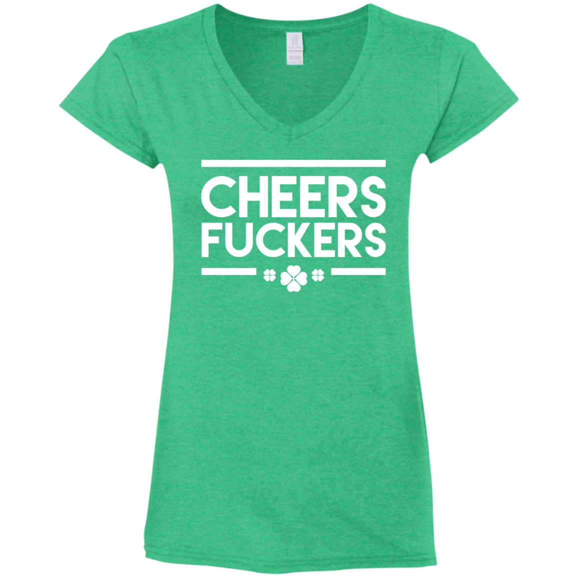 6c7c078c4bad CHEERS DUCKERS V-Neck Fitted Softstyle T-Shirt / Heather Irish Green / 3XL