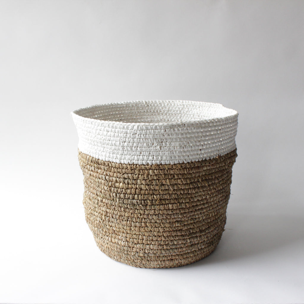 Pelle Natural and White Basket