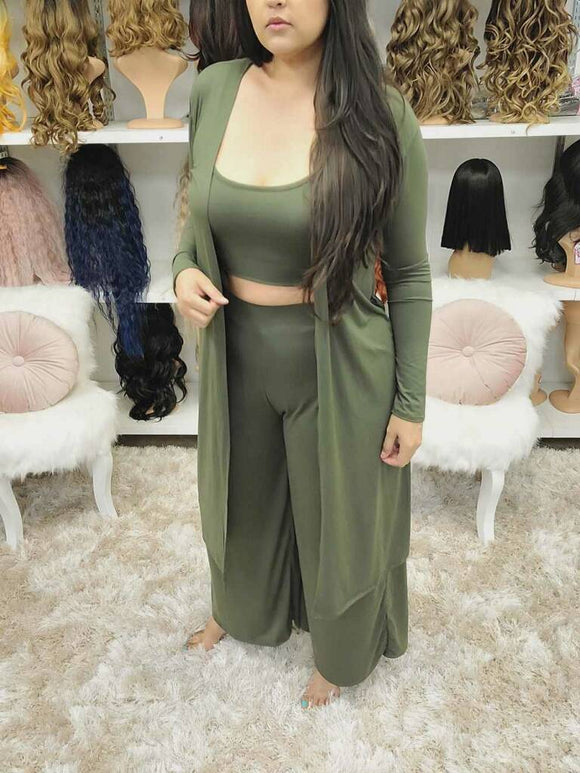 GREEN SLEEVELESS CROP TOP WITH FLARE PANTS SET - The Pink Makeup Box